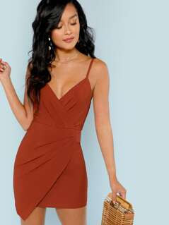Sleeveless Ruched Front Mini Dress
