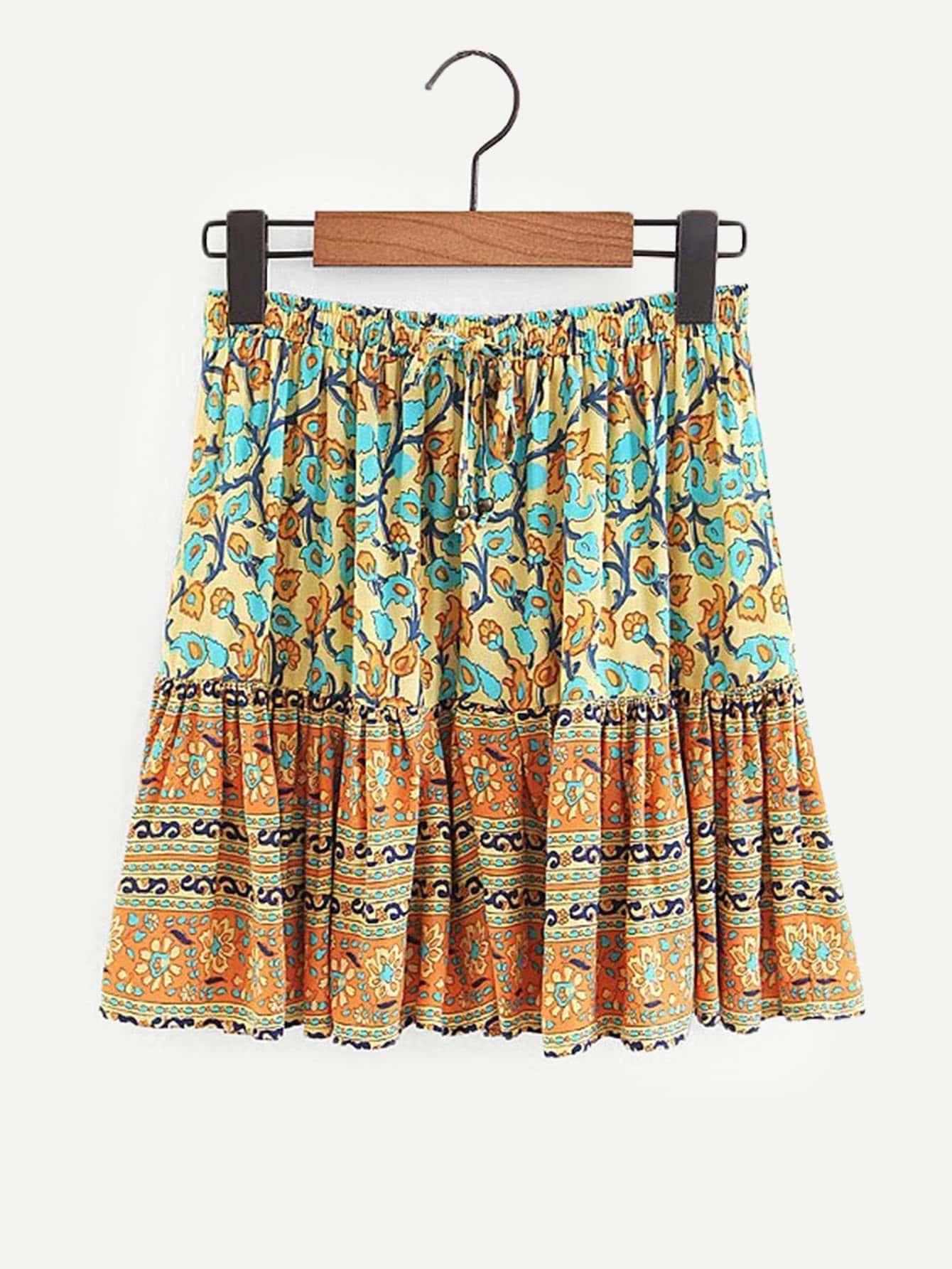 Купить Общая ситцевая юбка с басоном эластичным, null, SheIn