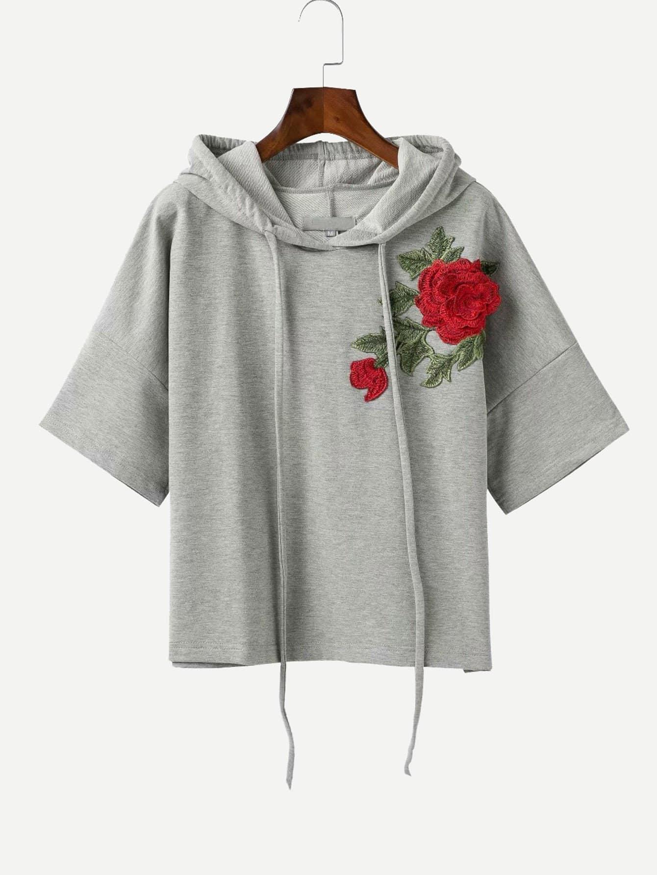 Купить Вышитая футболка с капюшоном и с заниженной линией плеч, null, SheIn