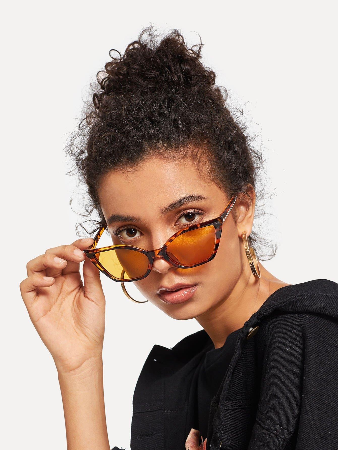 Купить Солнцезащитные очки с цветными линзами и в форме глаза кота, null, SheIn