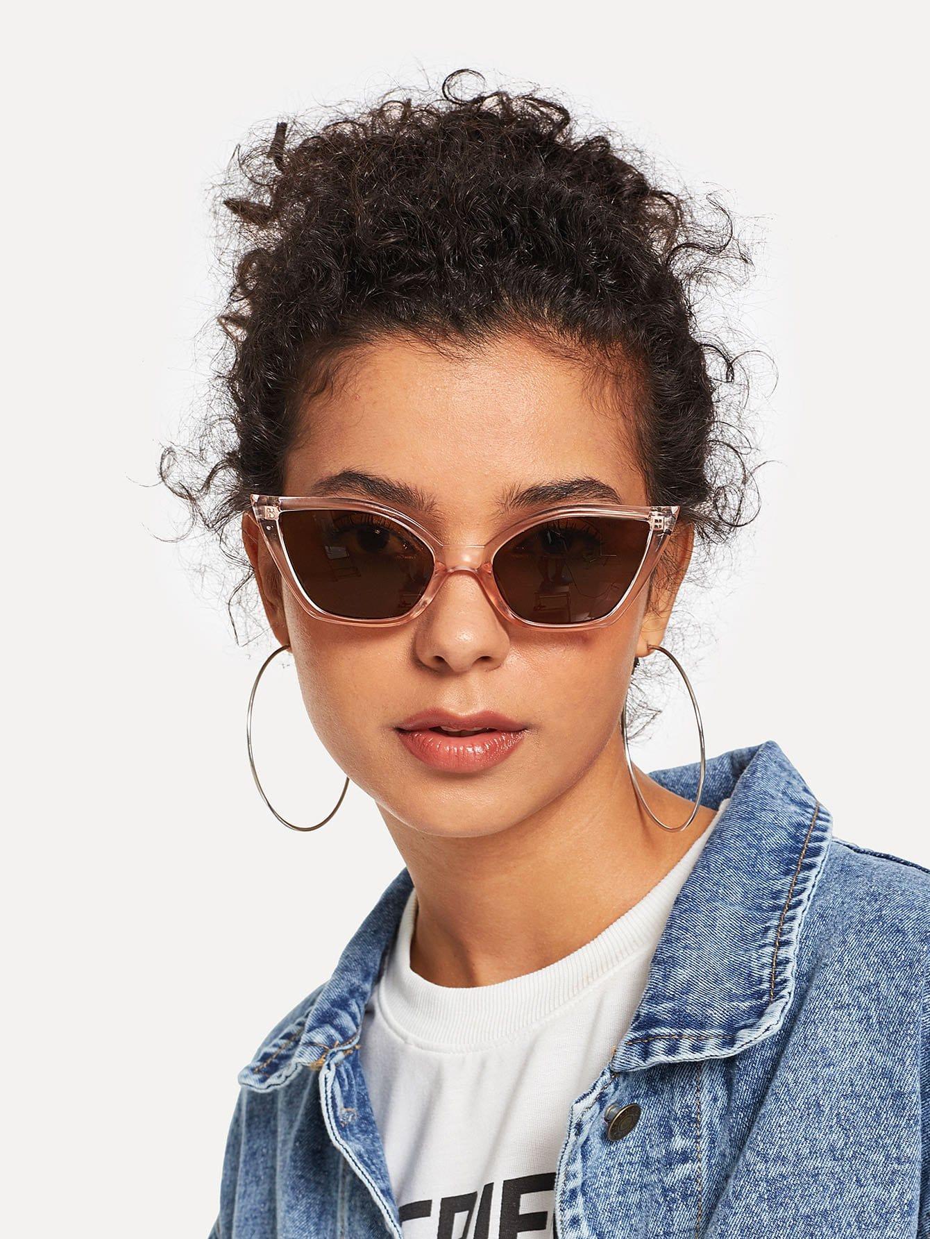 Купить Солнцезащитные очки с прозрачными оправами и в форме глаза кота, null, SheIn