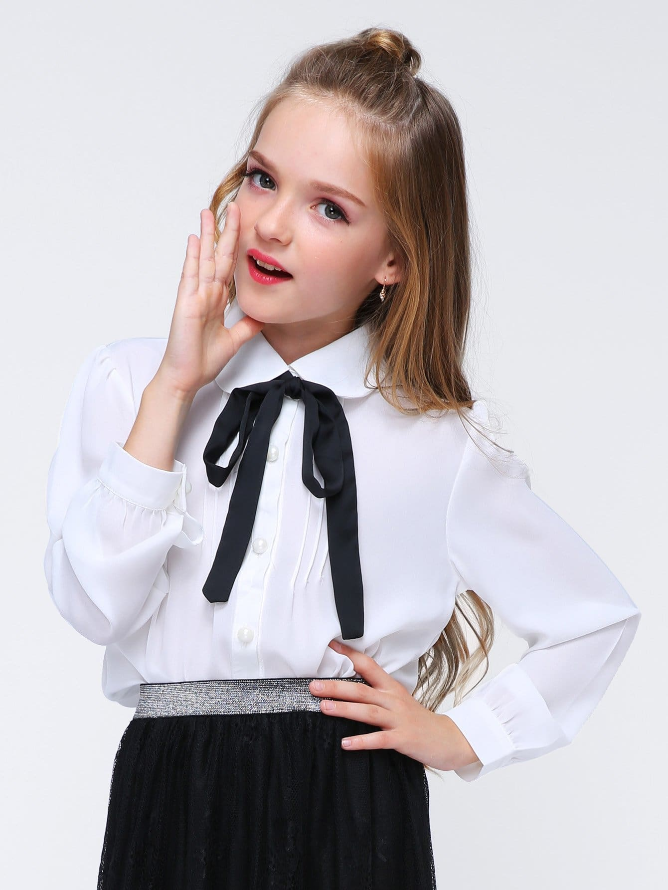 Girls Tie Neck Solid Blouse