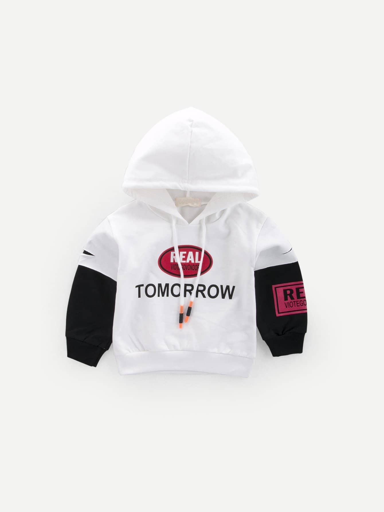 Купить Пуловер с капюшоном и с рисунками буквы и со симметрическими рукавами для мальчика, null, SheIn