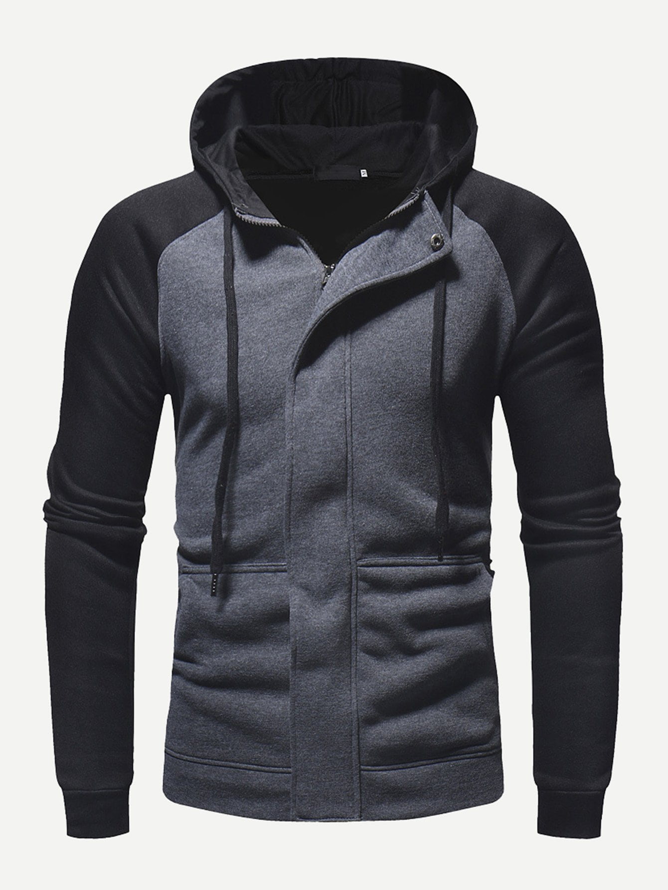 Men Cut And Sew Panel Hooded Jacket