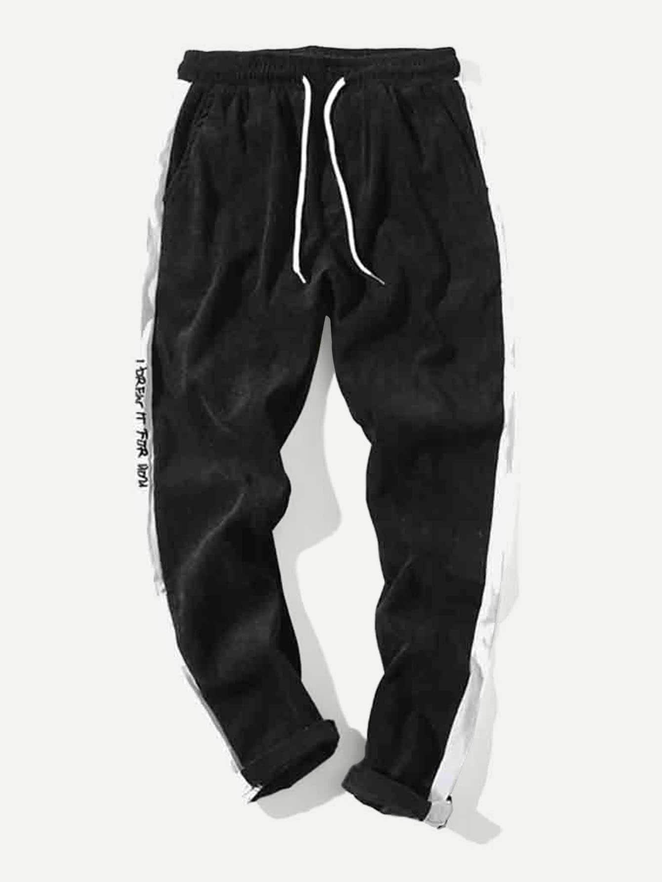 Купить Контрастные брюки с басоном эластичным для мужчины, null, SheIn