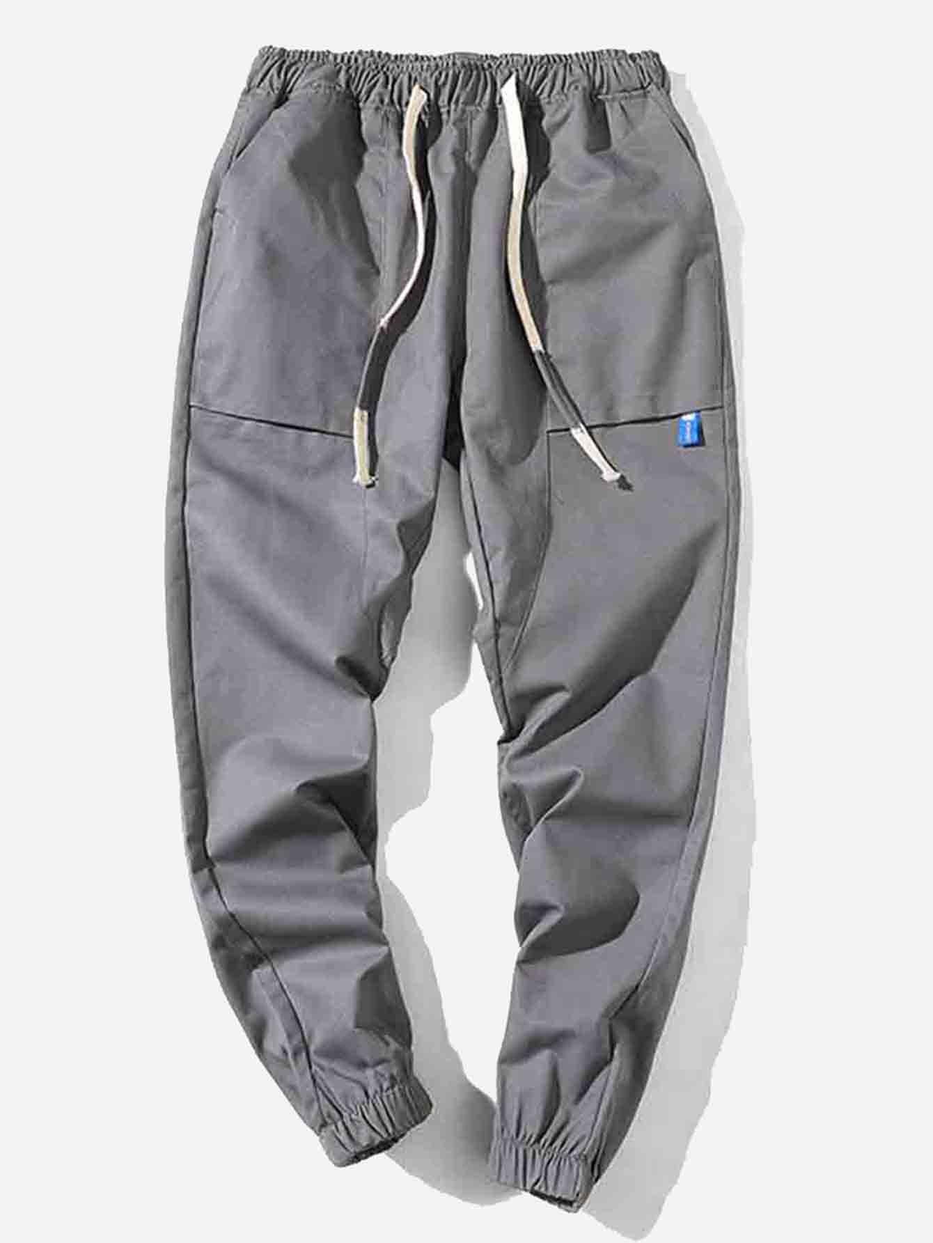 Men Cut And Sew Panel Plain Drawstring Pants