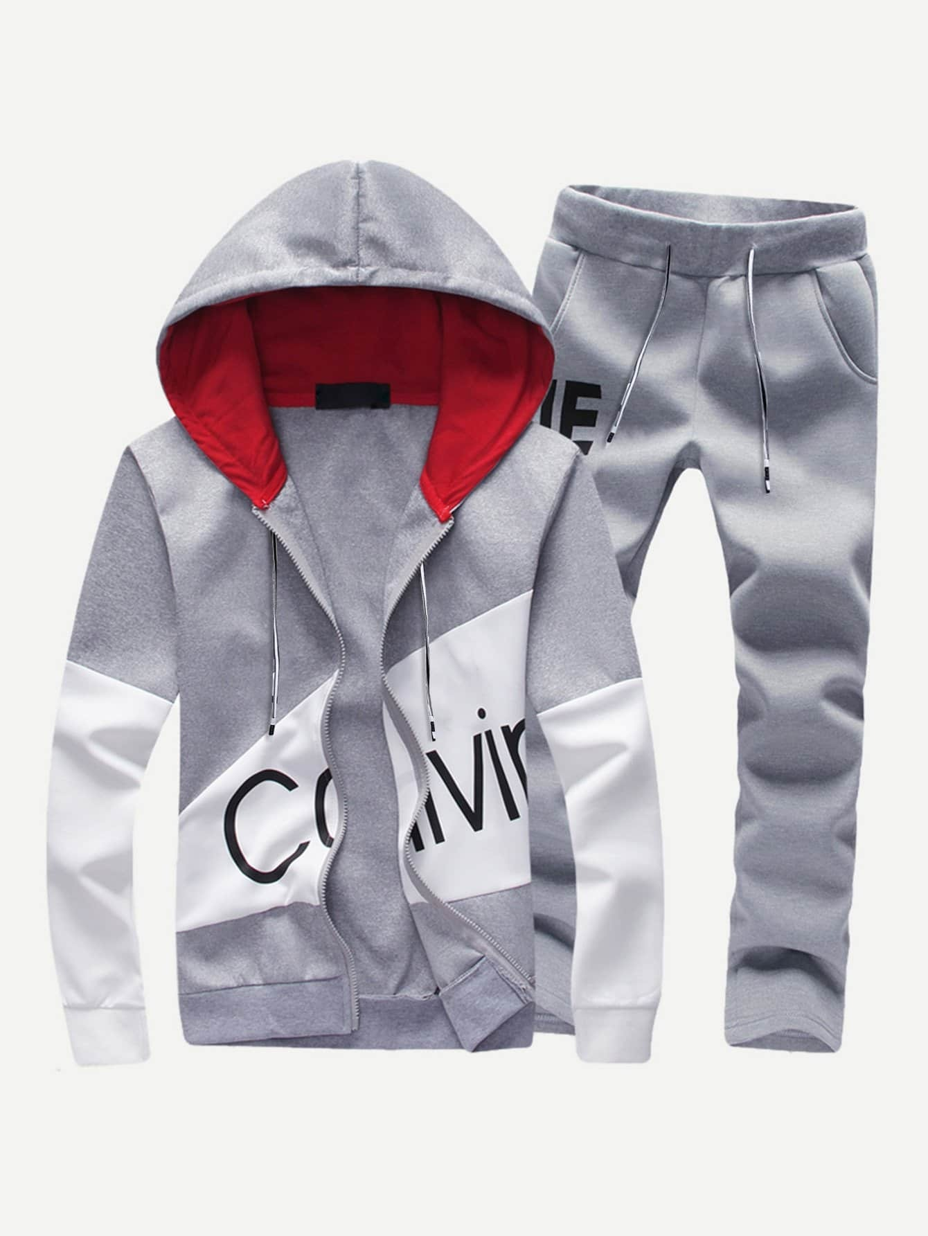 Men Letter Print Hooded Sweatshirt With Drawstring Pants