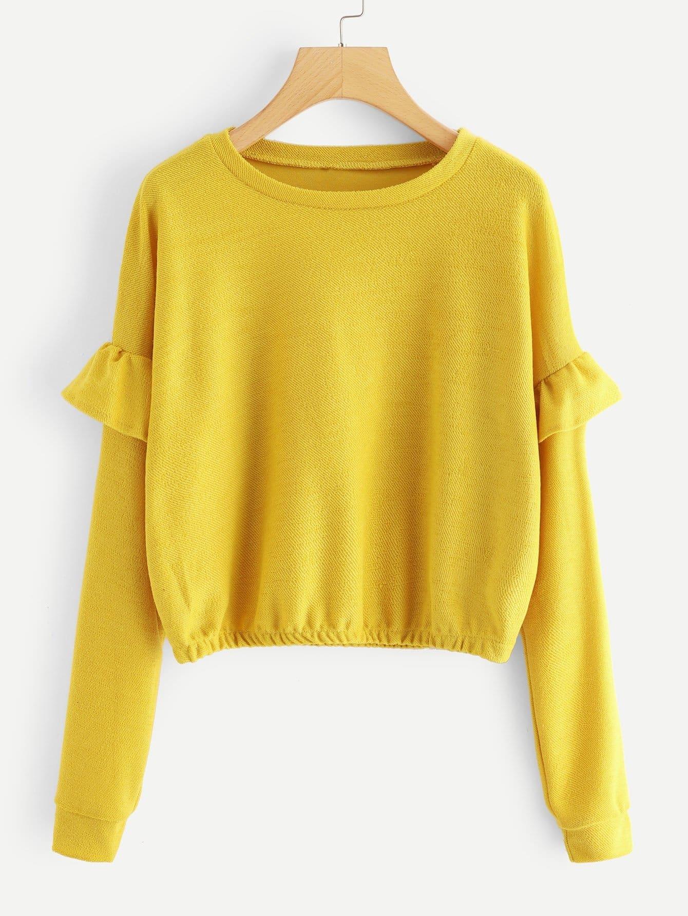 Ruffle Trim Sleeve Sweatshirt