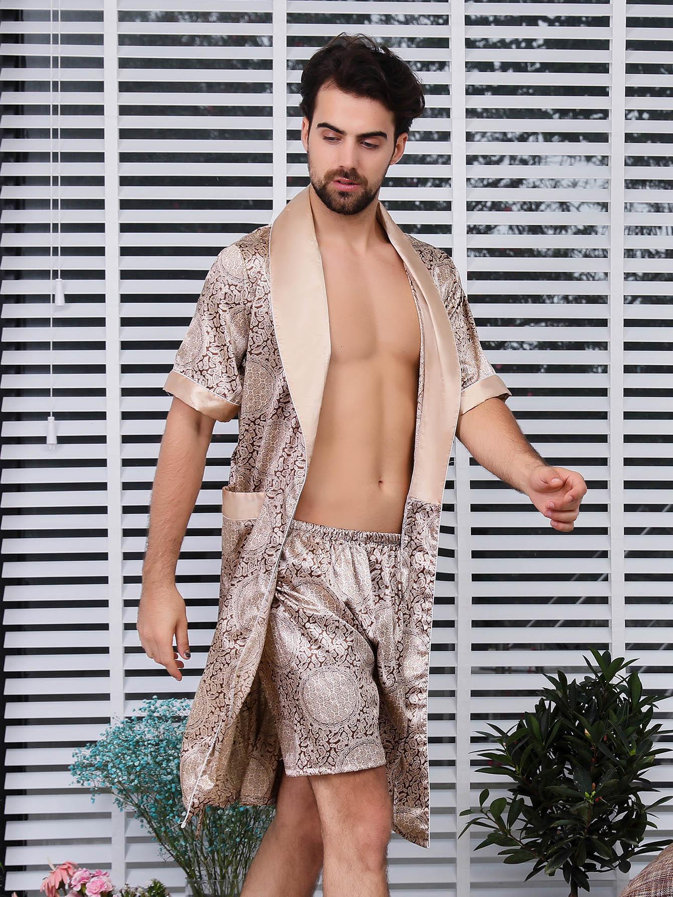 Купить Шорты с рисунками геометрических фигур и домашний халат для мужчины, null, SheIn