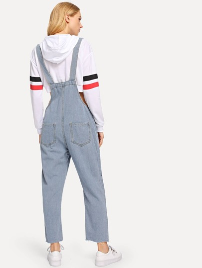 Romwe / Ripped Detail Solid Denim Jumpsuit