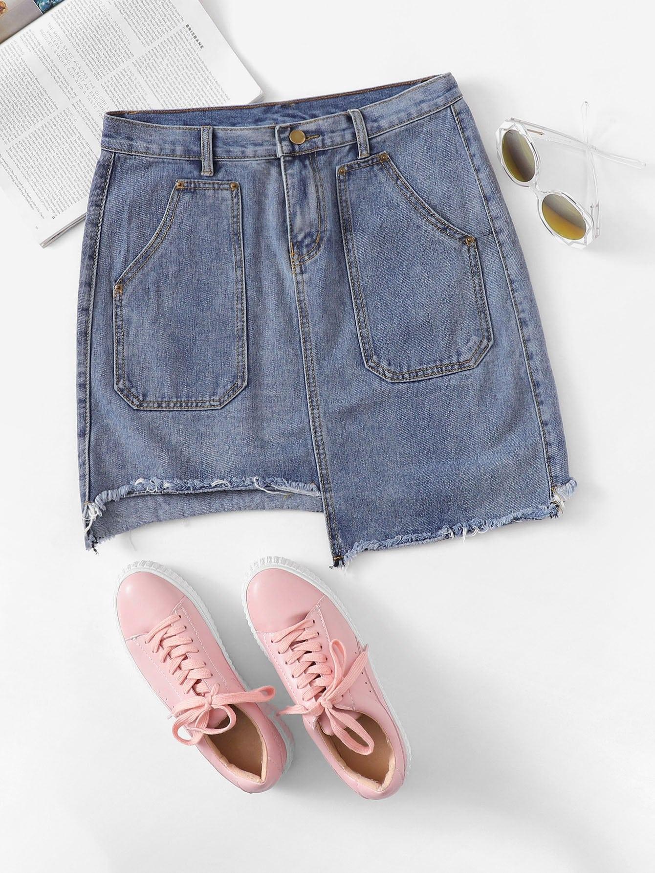 Raw Hem Asymmetrical Skirt