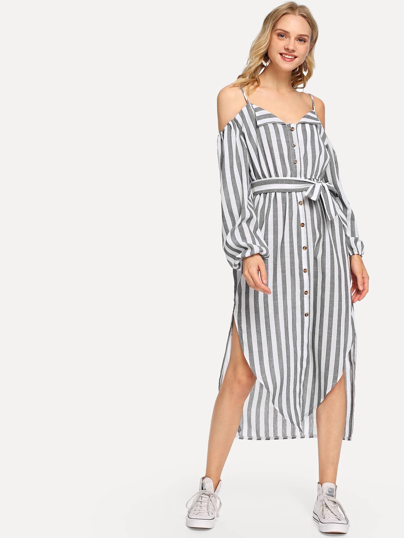 Купить Полосатое однобортное платье на бретелях и с вырезом, Nedab, SheIn