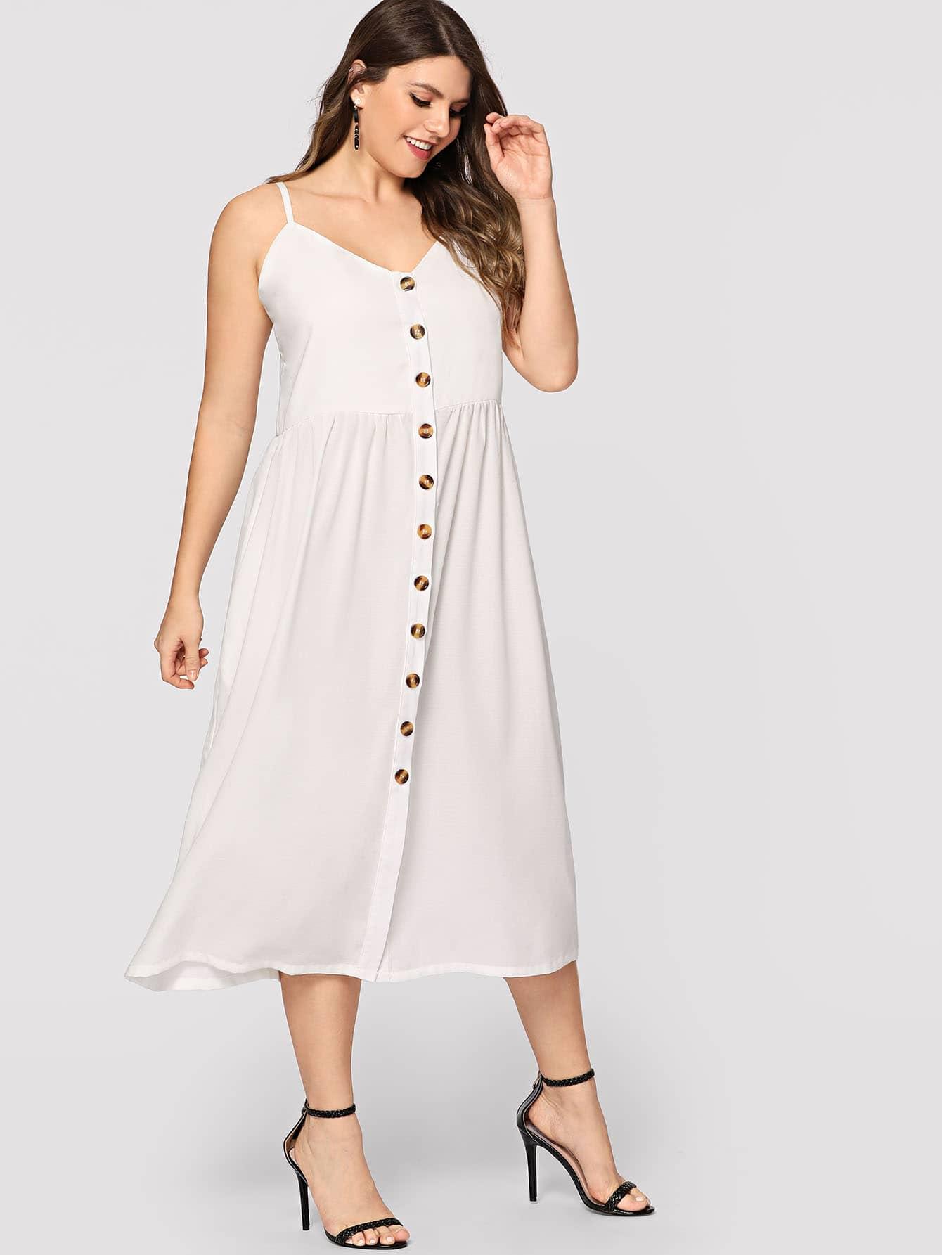 Купить Большое платье на бретелях и с украшением пуговицы, Isabela, SheIn
