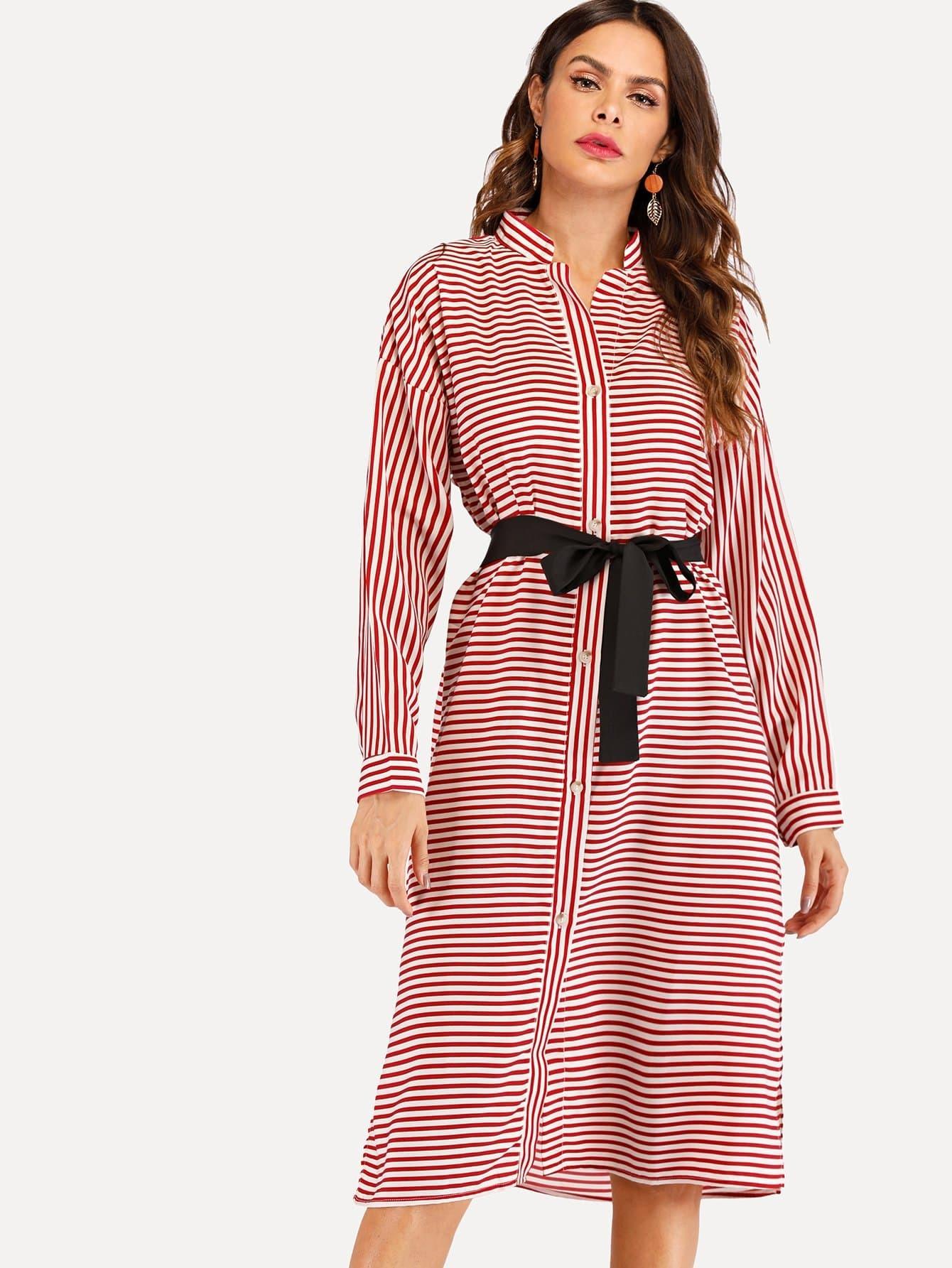 Купить Полосатое платье рубашки с поясом, Andy, SheIn