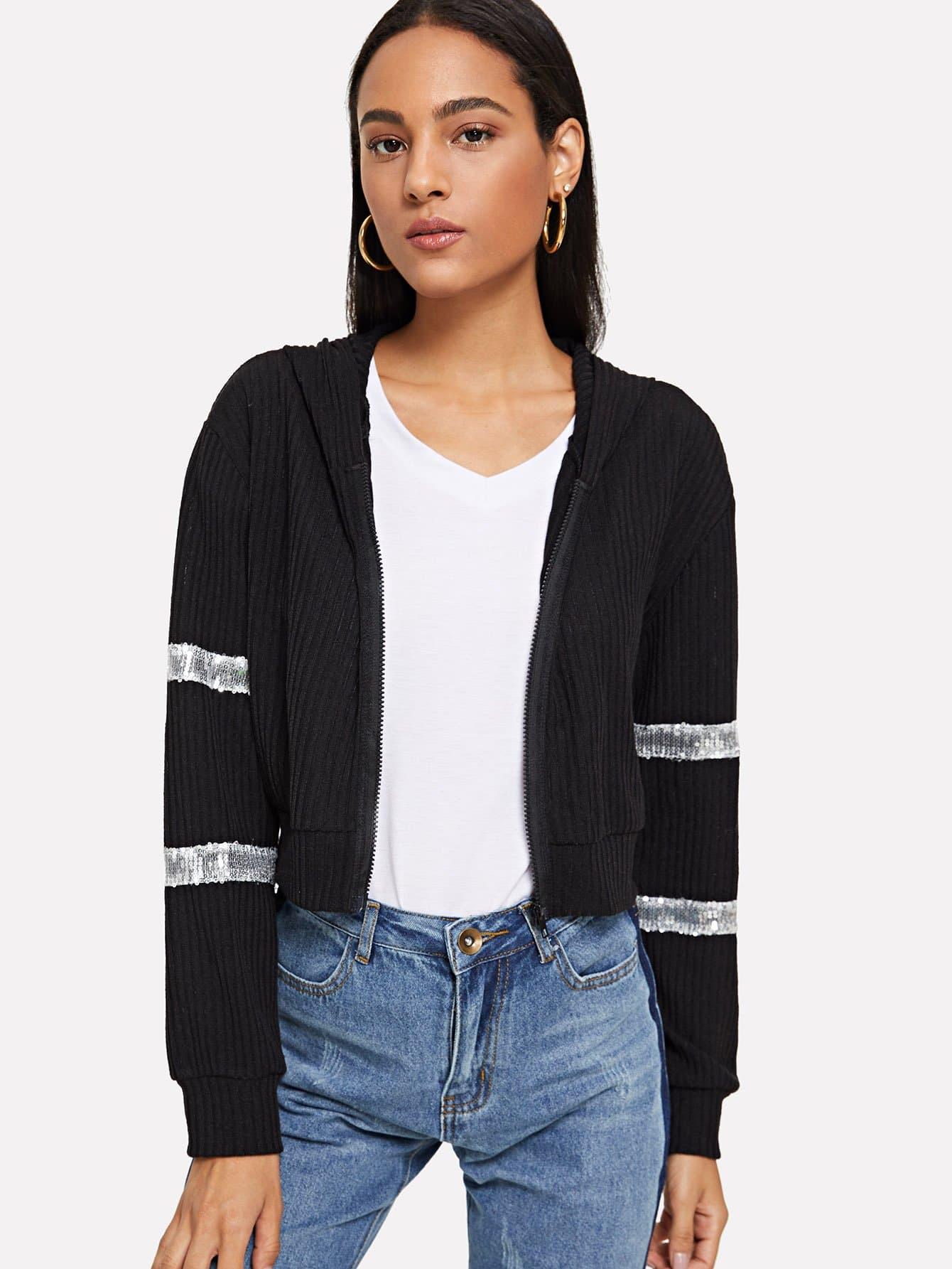 Sequin Contrast Ribbed Crop Jacket