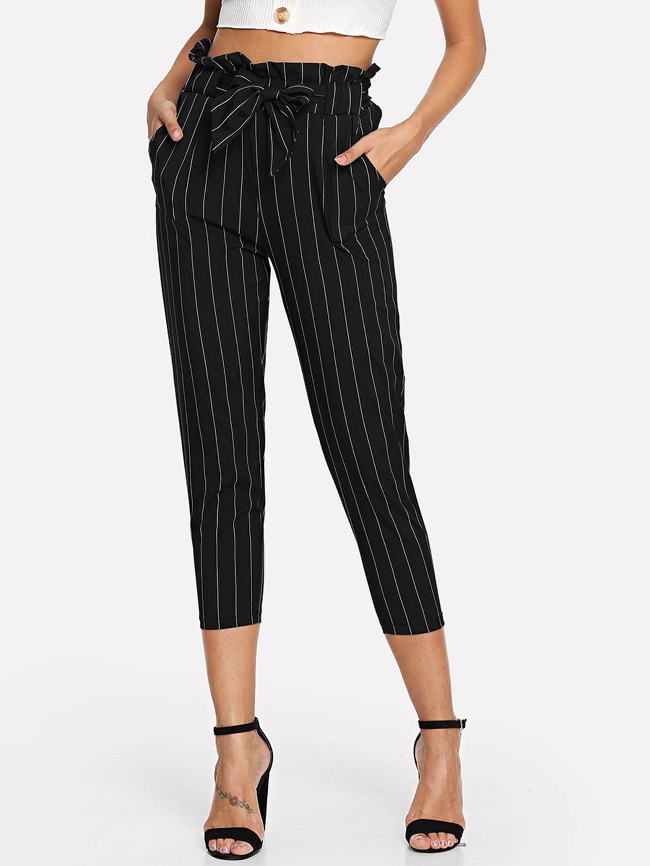 Купить Полосатые брюки с поясом, Mary P., SheIn