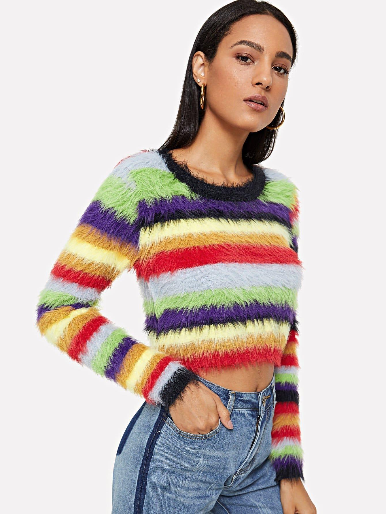 Multi-Stripe Fuzzy Jumper