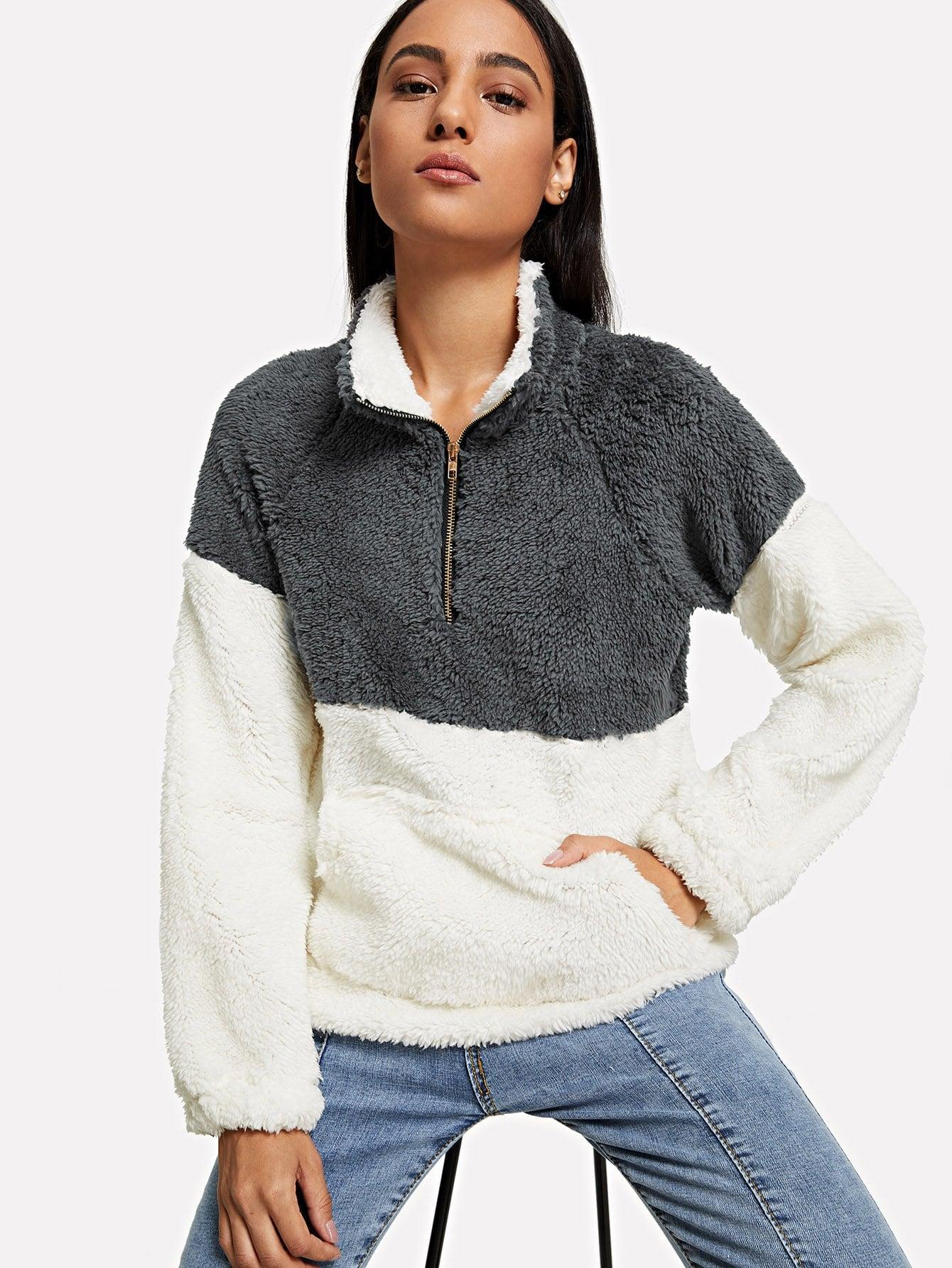 Kangaroo Pocket Drop Shoulder Color Block Sweatshirt mayer boch 143 092 дворники пластик 2шт 18