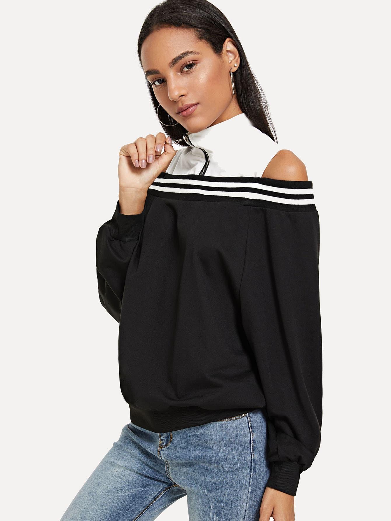 Cold Shoulder Zip Front Sweatshirt
