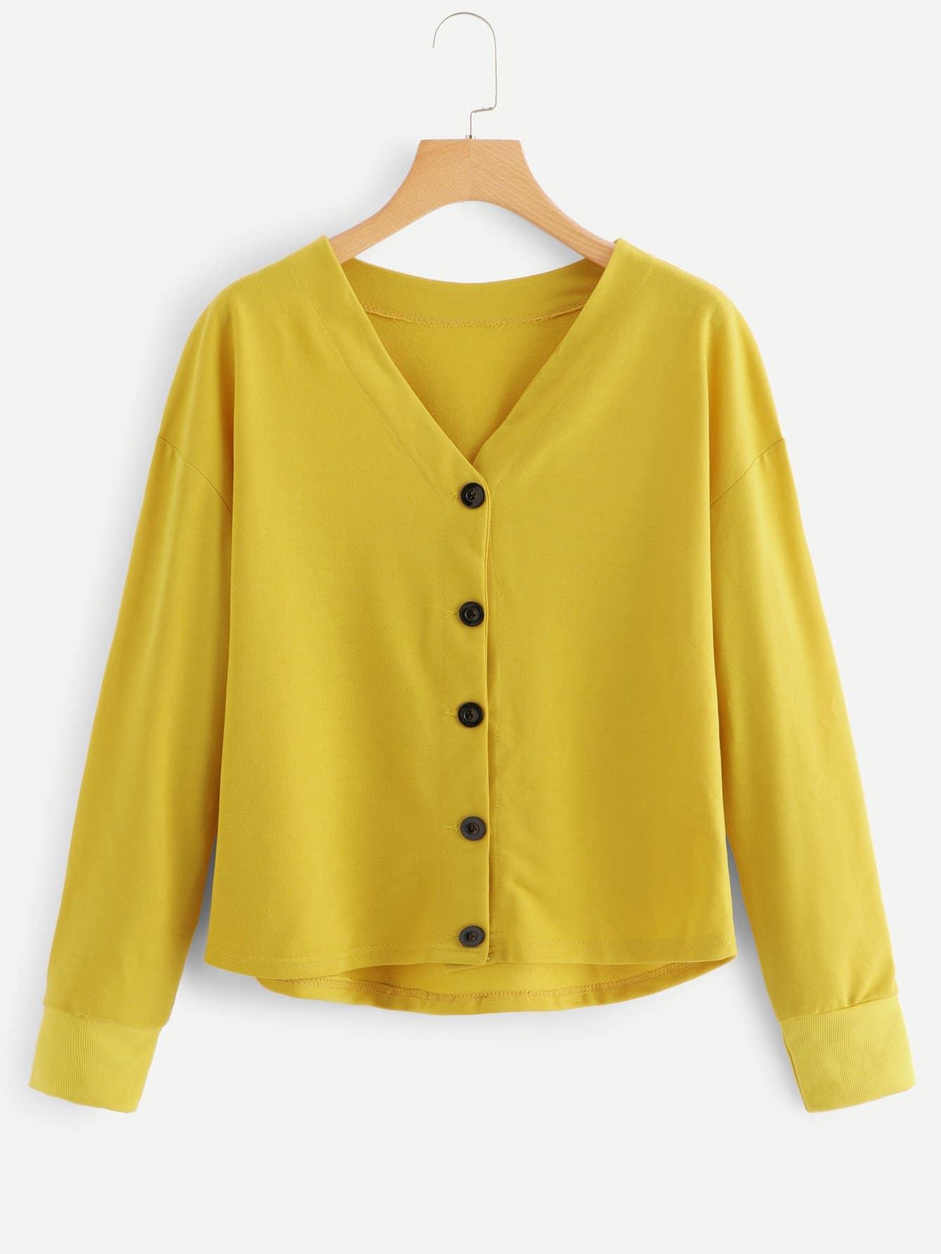 V Neckline Button Front Sweatshirt