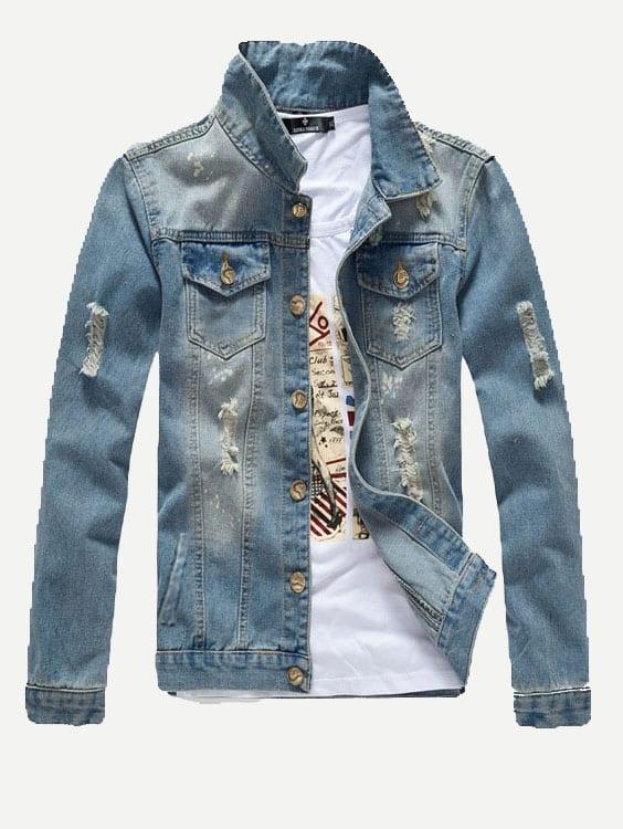 Мужчины Хотят Уничтожено Джинсовые Куртки