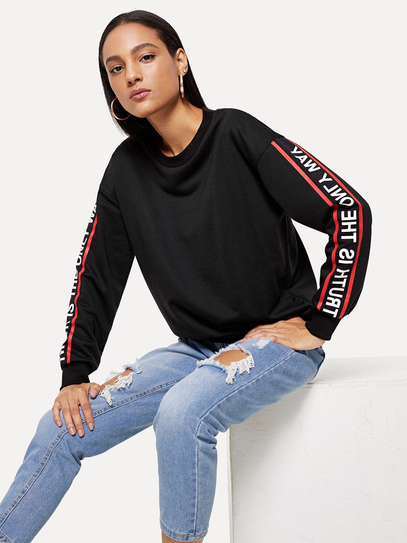 Купить Повседневный Текст Пуловеры Черный Свитшоты, Kary, SheIn