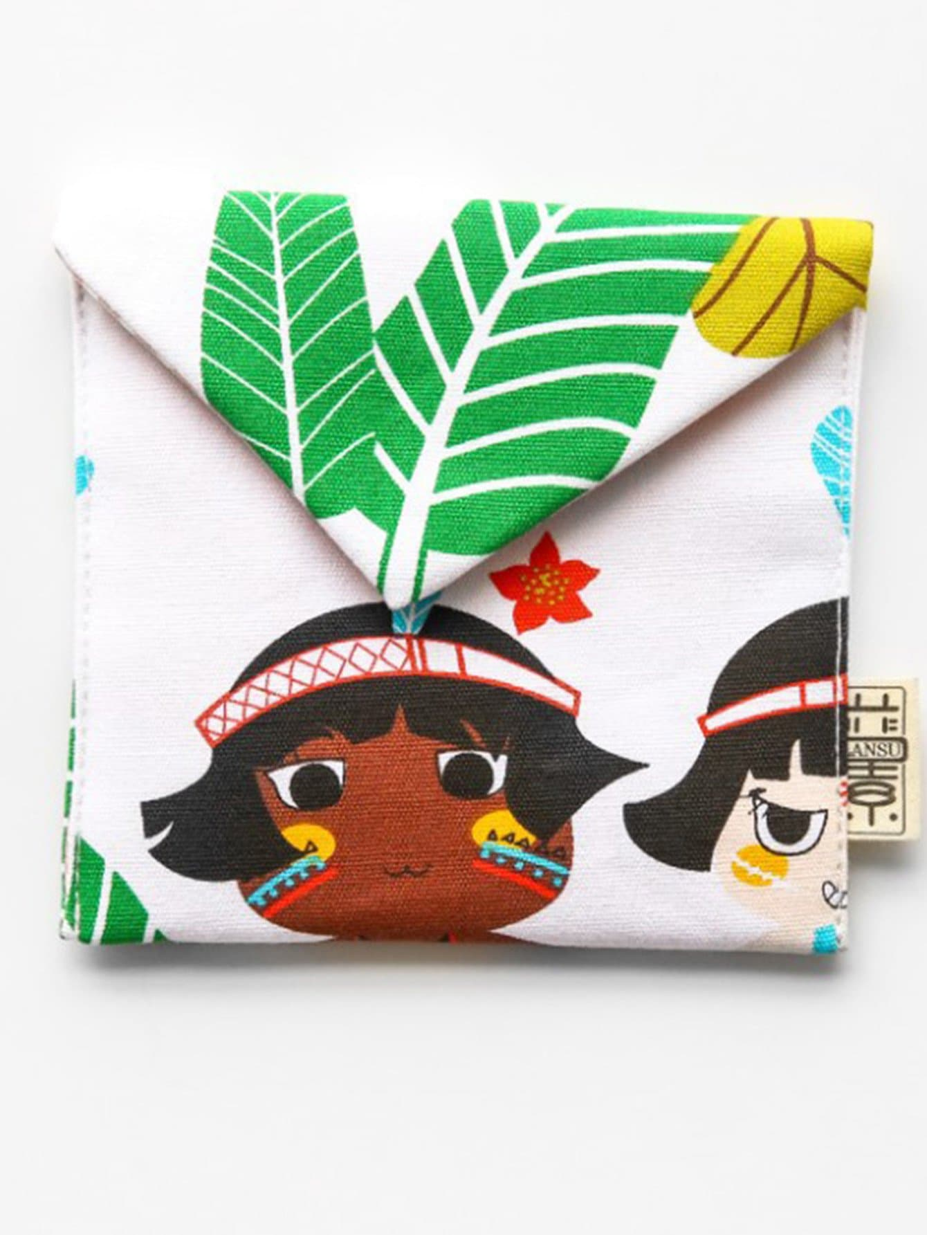 Tropical Leaf Print Storage Pocket