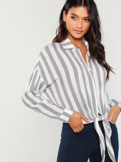 Knot Hem Striped Blouse