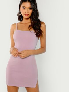 Form Fitting Slit Hem Cami Dress