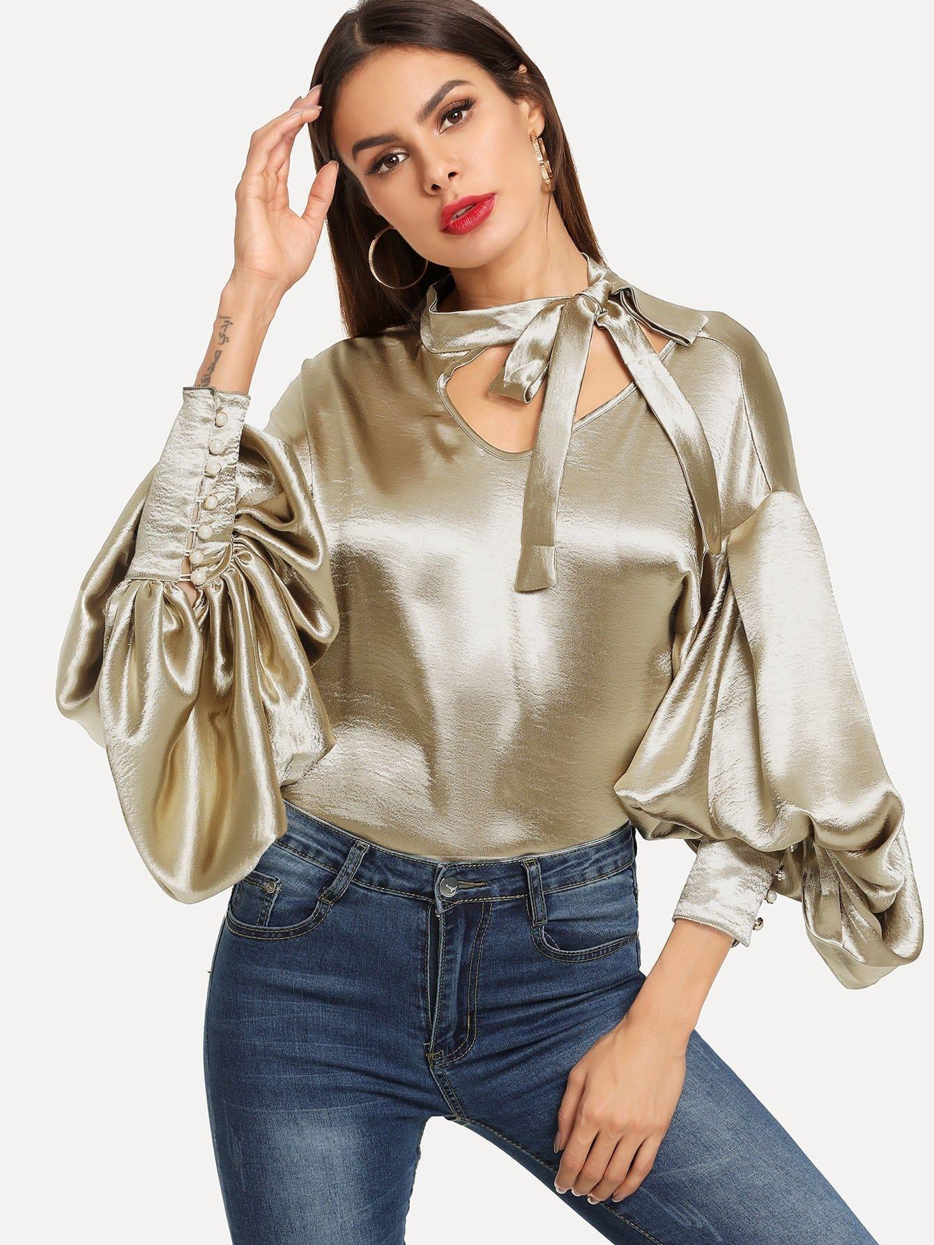 Купить Галстук шея преувеличение блузка с фонарными рукавами, Andy, SheIn