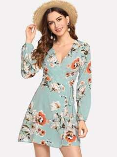 Surplice Wrap Floral Dress