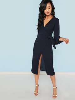 Flounce Sleeve Self Tie Wrap Split Dress
