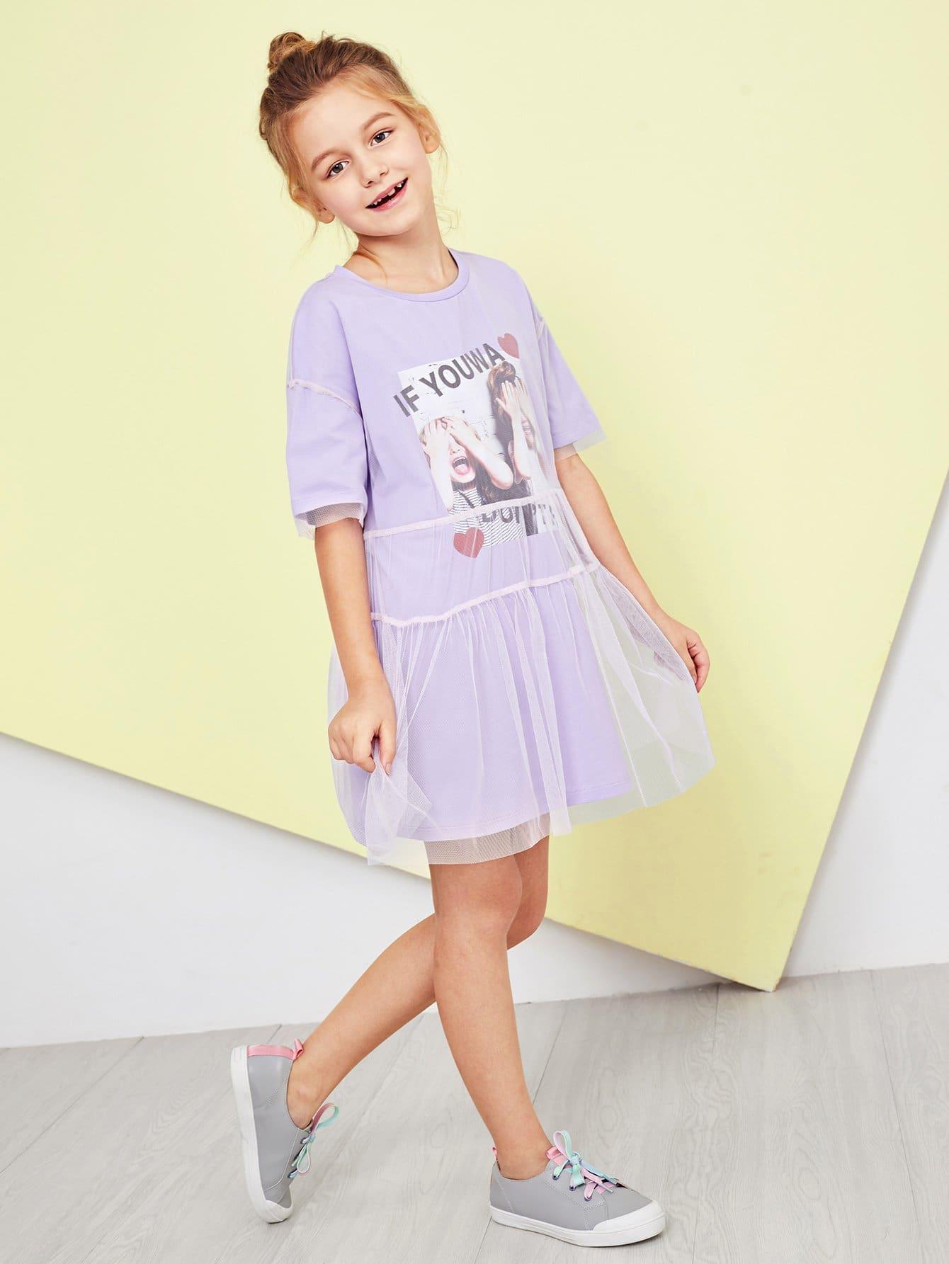 Купить Платье для девочек с рисунком для девочек, Sashab, SheIn