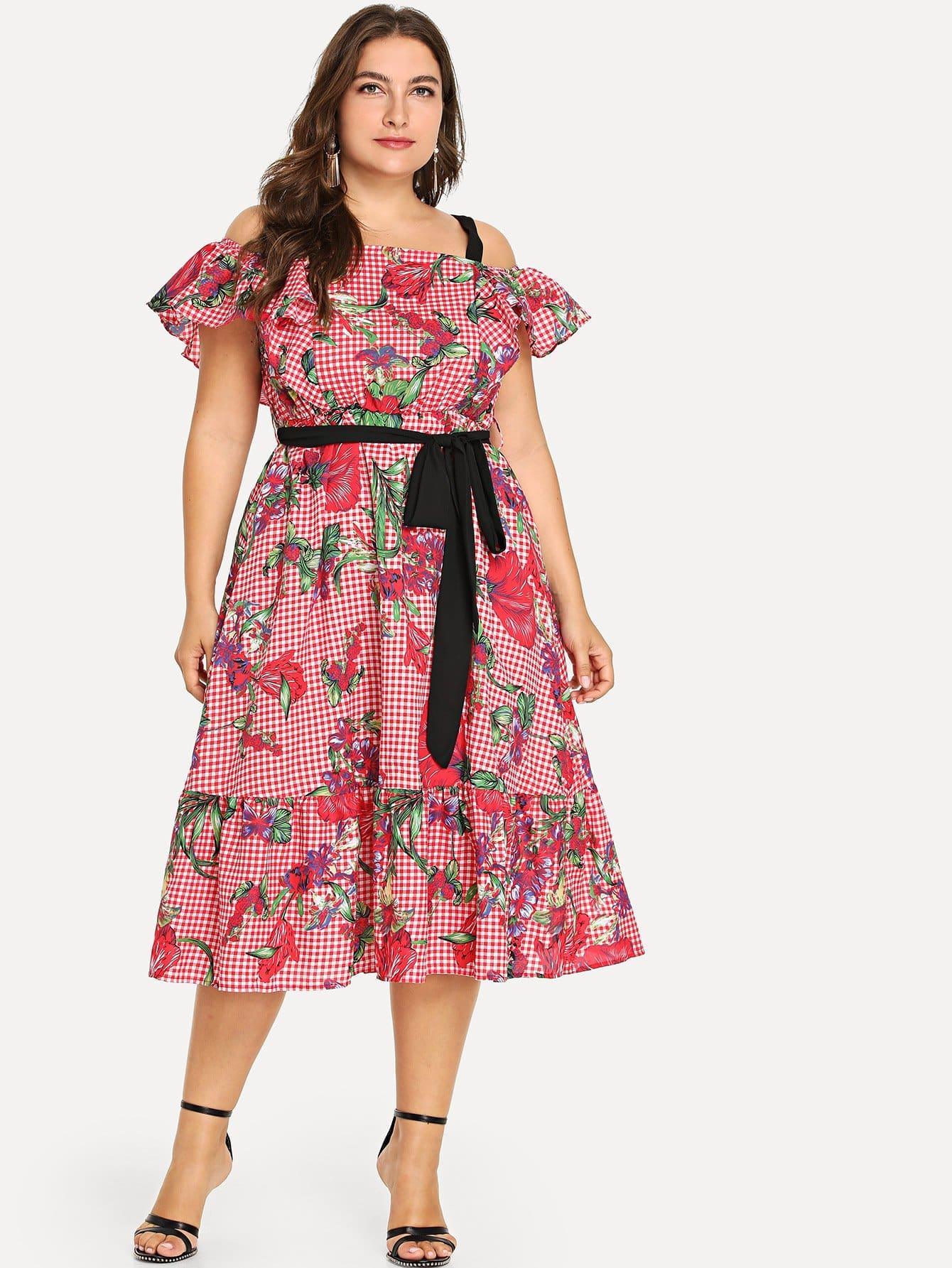 Купить Плюс Смешанная печать Холодное плечо Fit & Flare Belted Dress, Franziska, SheIn