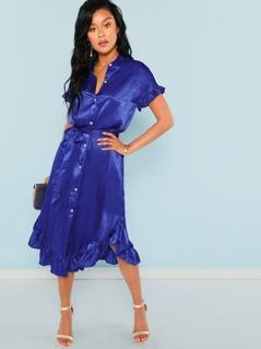 Ruffle Hem Button Up Belted Dress