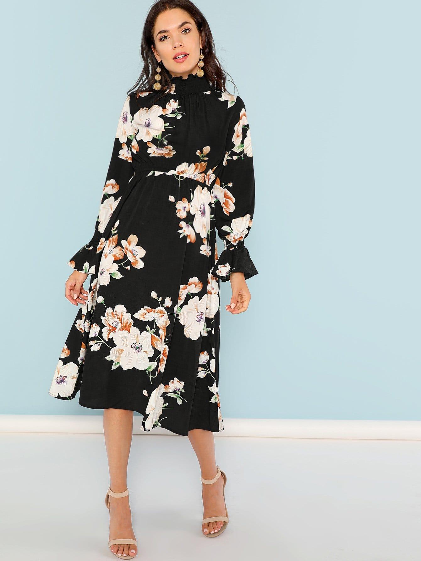 Купить Цветочеое платье с рюшами и с ложным воротником, Aarika Wolf, SheIn
