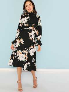 Mock Neck Pleated Panel Floral Dress