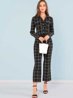 Button Front Drawstring Plaid Jumpsuit