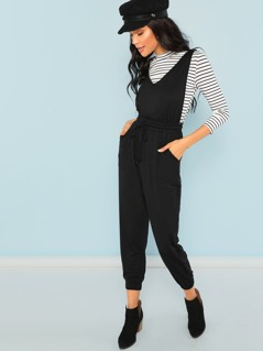 Drawstring Waist Pocket Side Jumpsuit