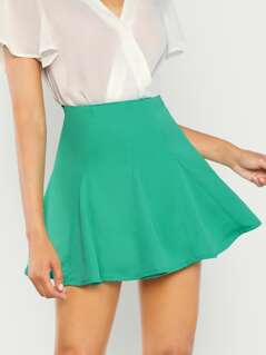 Neon Lime Solid Boxed Pleated Skirt