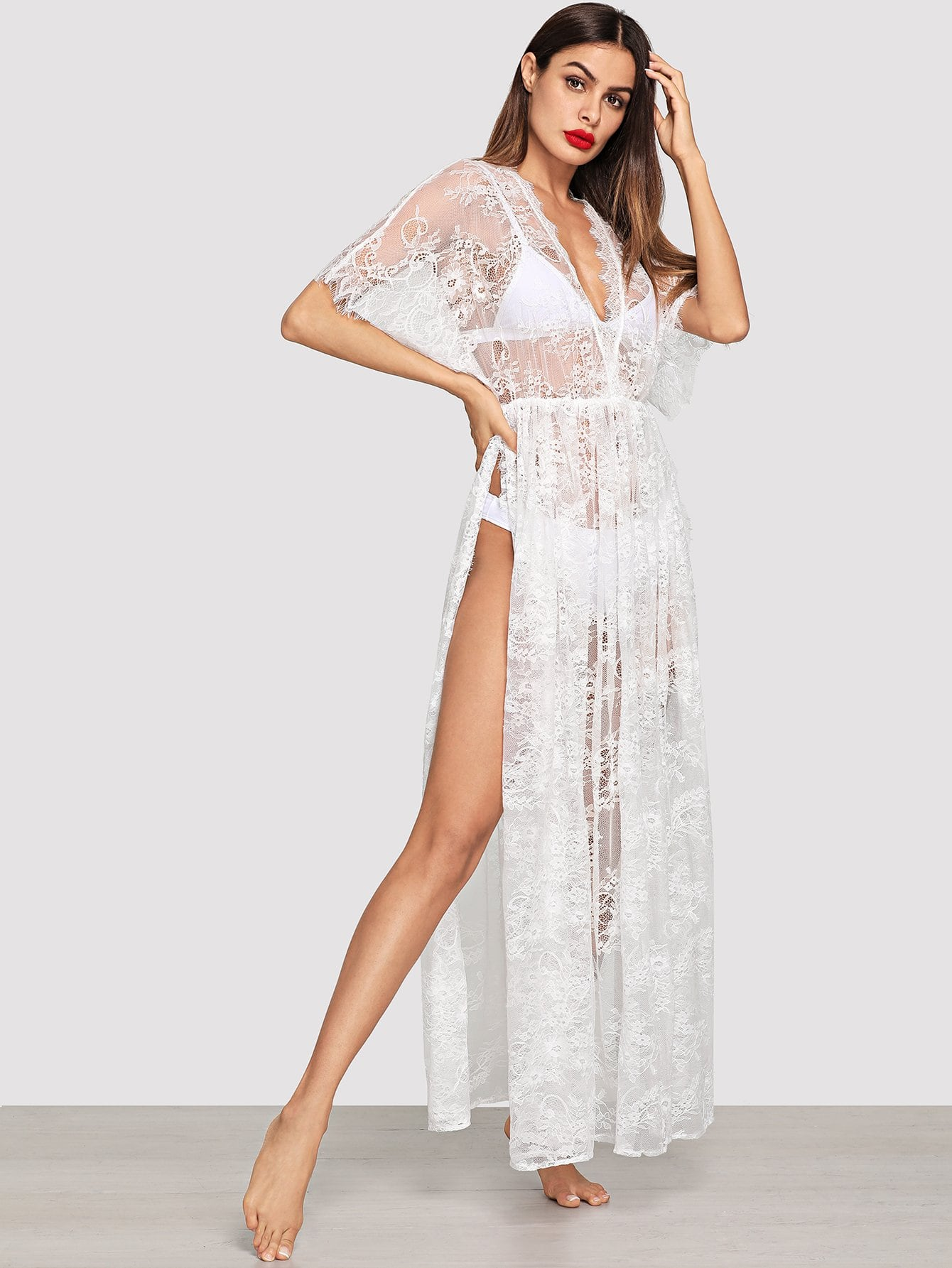 Surplice Wrap Sheer Eyelash Lace Night Dress without Lingerie Set embroidered mesh sheer dress without lingerie dress