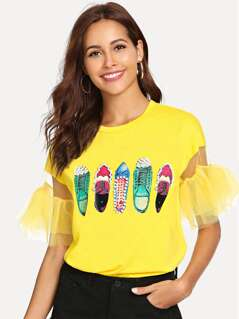 Shoe Print with Pearls Detail Mesh Tee