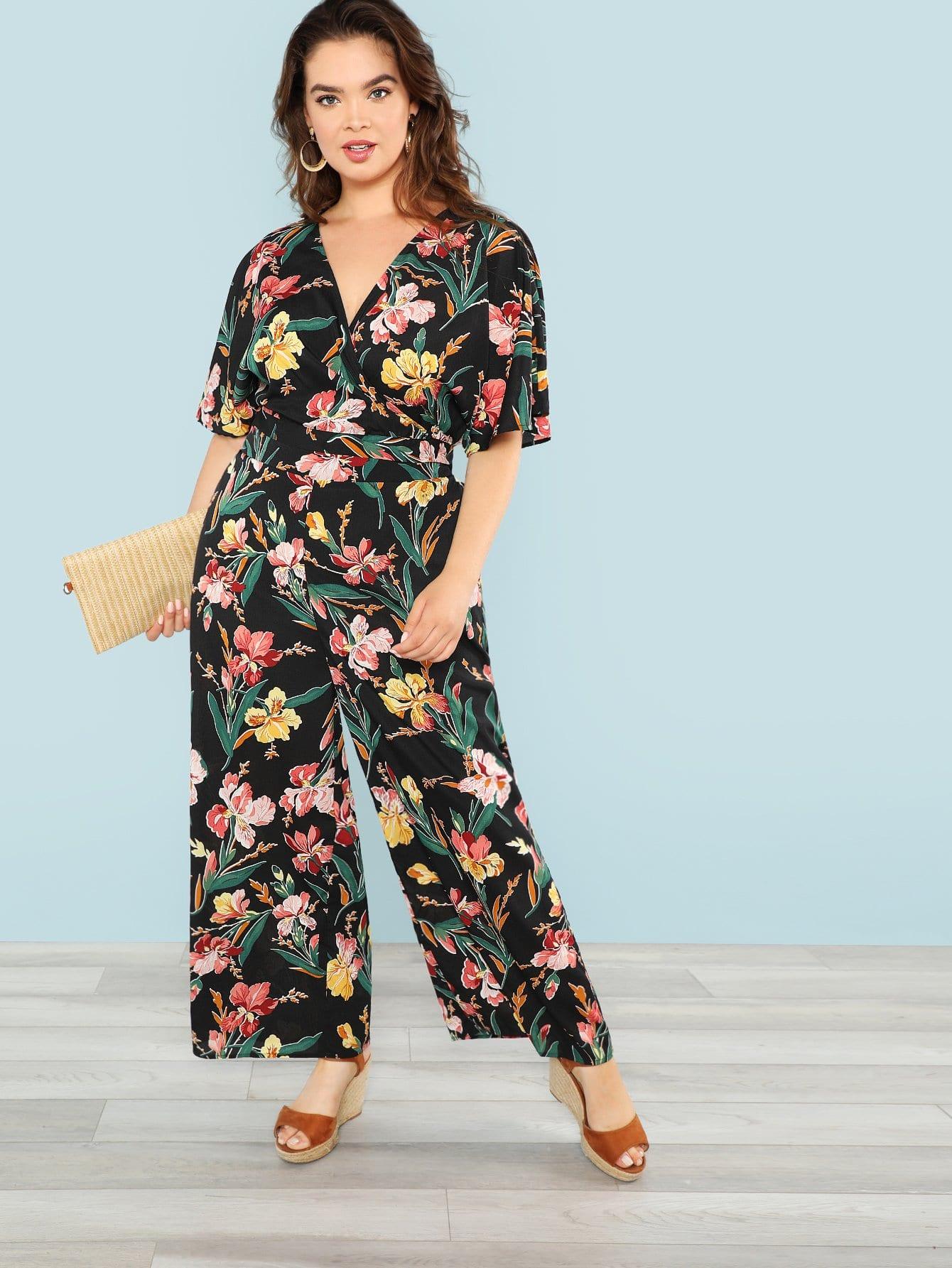 Allover Botanical Print Crop Top и широкие штаны для ног