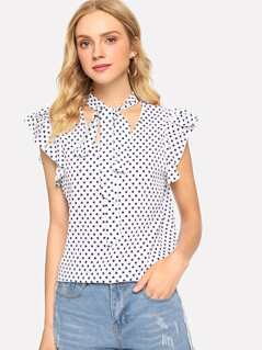 Ruffle Trim Dot Top