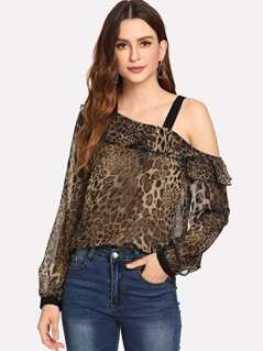 One Shoulder Leopard Print Top