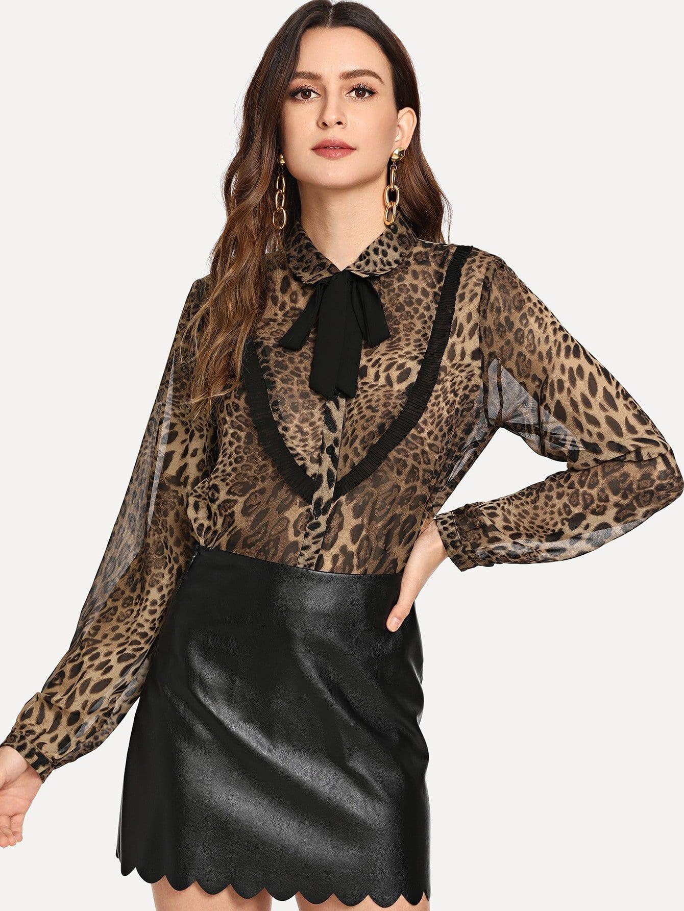 Tie Neck Collar Leopard Печать Вверх