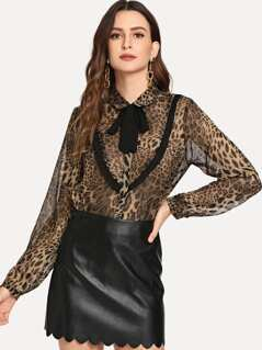 Tie Neck Semi Sheer Leopard Top