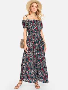 Waist Belted Botanical Print Dress