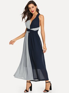 Criss Cross Color Block Shell Dress