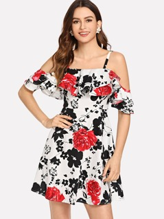 Layered Ruffle Floral Cami Dress